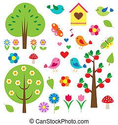 bomen., vector, set, vogels