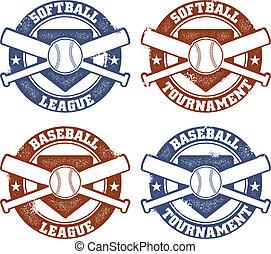 bond, postzegels, honkbal, softbal