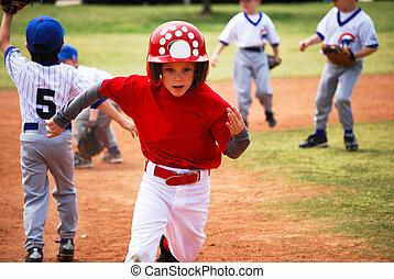 bond, weinig; niet zo(veel), speler, rennende , basissen, honkbal