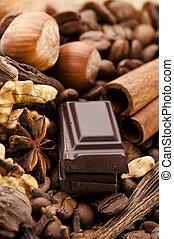 bonen, koffie, kruiden, nootjes, chocolade