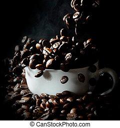 bonen, witte , het vallen, kop, koffie