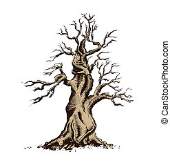 bonsai, kunst, illustration., boompje, vector, silhouette