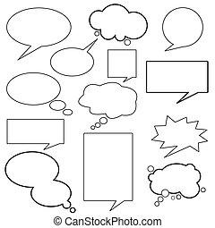 boodschap, dialoog, balloon