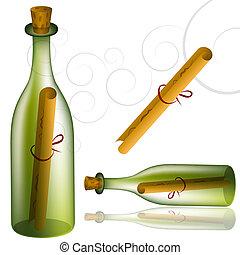 boodschap, set, fles