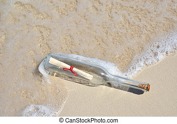 boodschap, strand, fles