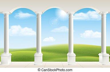boog, weide, kolommen