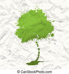 boom., verfrommeld papier, groene