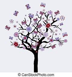 boompje, abstract, bloemen, vlinder, floral