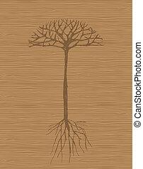 boompje, achtergrond, kunst, houten, wortels