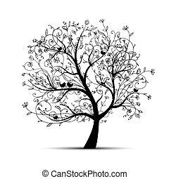 boompje, black , jouw, kunst, ontwerp, mooi, silhouette