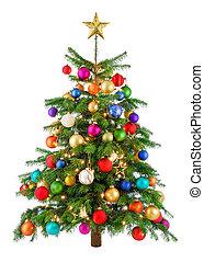 boompje, blij, kleurrijke, kerstmis