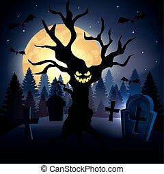 boompje, halloween, begraafplaats, scène, rondgespookte