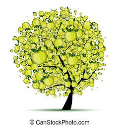 boompje, jouw, appel, ontwerp, energie