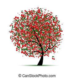 boompje, jouw, kers, ontwerp, energie