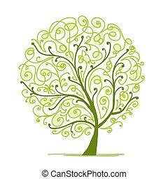 boompje, jouw, kunst, groene, ontwerp