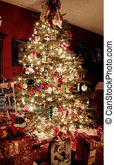 boompje, kerstmis, nacht