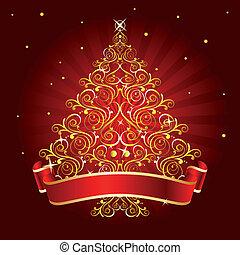 boompje, kerstmis, rood