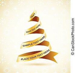 boompje, lint, gouden, kerstmis