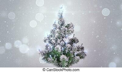 boompje, loopable, zilver, lichten, vonkeelt, kerstmis