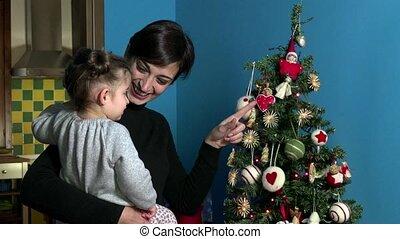 boompje, moeder, dochter, kerstmis, kerstmis