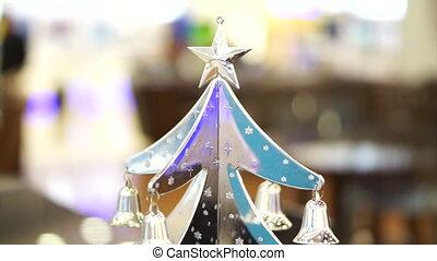 boompje, ornament, kerstmis, zilver