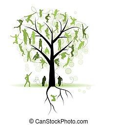 boompje, silhouettes, familie, gezin, mensen