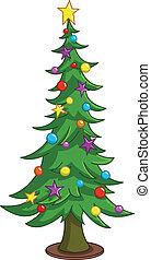 boompje, spotprent, kerstmis
