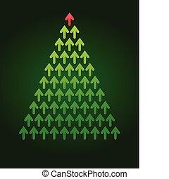 boompje, thema, kerstmis, zakelijk, richtingwijzer