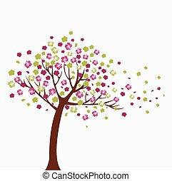 boompje, vector, kleurrijke, illustratie