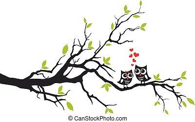 boompje, vector, liefde, uilen