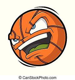 boos, basketbal, spotprent, gezicht