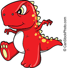 boos, betekenen, dinosaurus, rood, t-rex