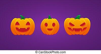 boos, bundel, lantaarntje, halloween, pompoen, dommekracht, uitdrukking, het glimlachen, o, mond, grijns