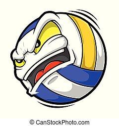 boos, spotprent, volleybal, gezicht