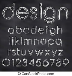 bord, abstract, illustratie, krijt, vector, sketched, lettertype