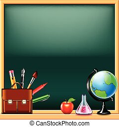 bord, school, groene, gereedschap, achtergrond