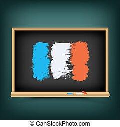 bord, school, vlag, trekken, frankrijk