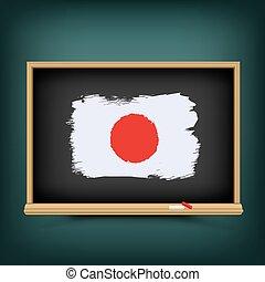 bord, school, vlag, trekken, japan