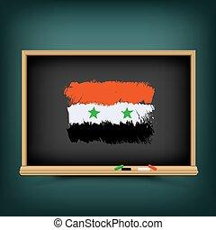 bord, school, vlag, trekken, syrië