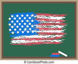 bord, vlag, usa