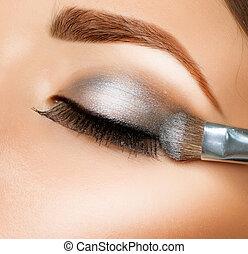 borstel, schaduw, eyeshadows., oog, make-up.