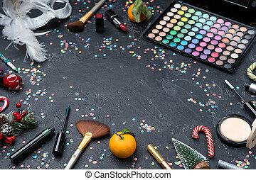 borstels, schaduwen, lippenstift, beeld, palet, boompje, black , mandarijn, tafel, kerstmis