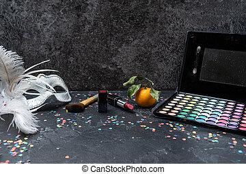 borstels, schaduwen, lippenstift, versiering, beeld, palet, black , mandarijn, tafel, kerstmis