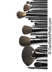 borstels, set, make-up
