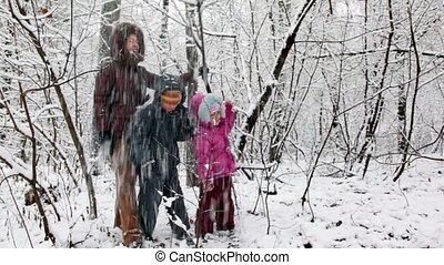 bos, kinderen, sneeuw, moeder