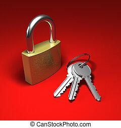 bos, rood, sleutels, hangslot