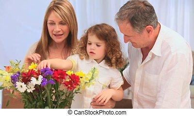 bos, vervaardiging, gezin, bloemen