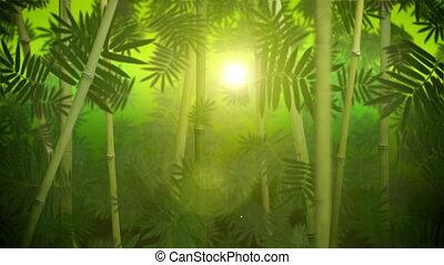 bosje, bamboe, groene, lus