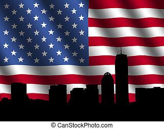 boston, skyline, vlag, rippled