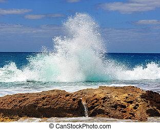 botsen, golven, zee, tegen, rotsen